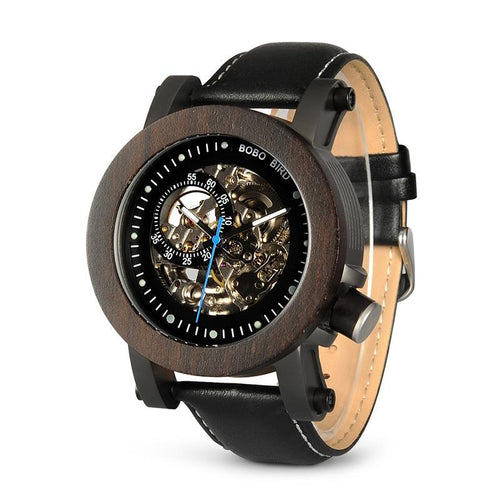 Skeleton - Dark Ebony Wood and Stainless Steel Casing with Exposed Mechanism