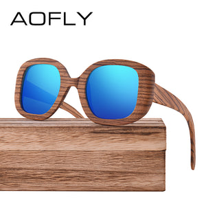 AOFLY BRAND DESIGN Polarized Wooden Sunglasses Original Wood Sun Glasses For  Women Men Handmade Bamboo Frame Oculos AF613