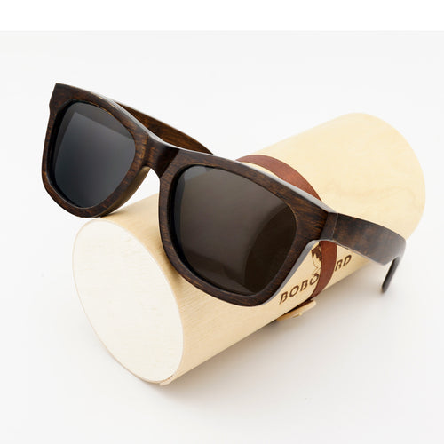BOBO BIRD WAG005 100% Nature Ebony Wooden Sunglasses Unisex Polarized Sun Glasses Male oculos de sol feminino Fashion Accessor
