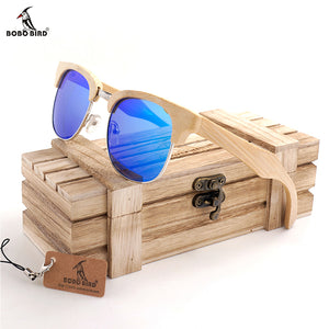 BOBO BIRD  Half box Retro Semi-Rimless Horn Classic Wood women Sunglasses UV400 Mens Luxury Glasses sport eyewear in Wood Box