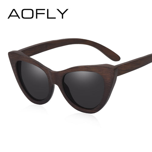 AOFLY BRAND DESIGN Women Sunglasses Polarized Lens Cat Eye Classic Vintage Wooden Sun Glasses For Lady Oculos de sol UV400 AF619