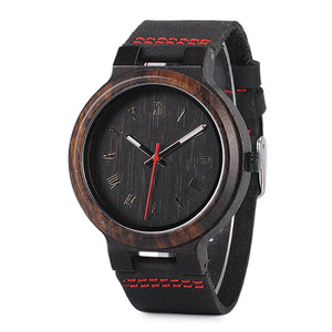 Tsuga - Dark Ebony Wood Watch with Leather Strap Red