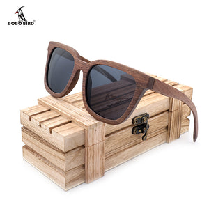 BOBO BIRD Polarized Wood Sunglasses Men Black Walnut Wooden Glasses High Quality Vintage Eyewear With Gift Box AG010a