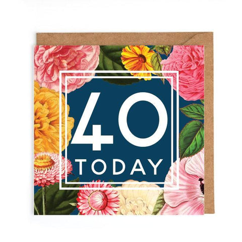 40th birthday card flowers