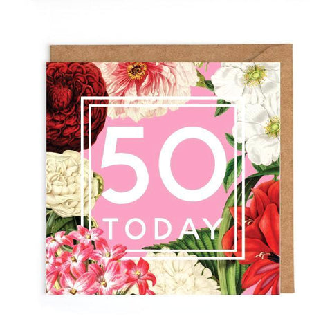 50th floral birthday card