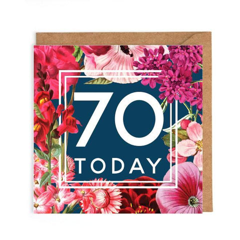 70th floral birthday card