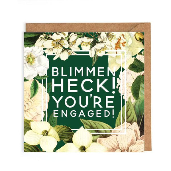 Witty engagement card floral