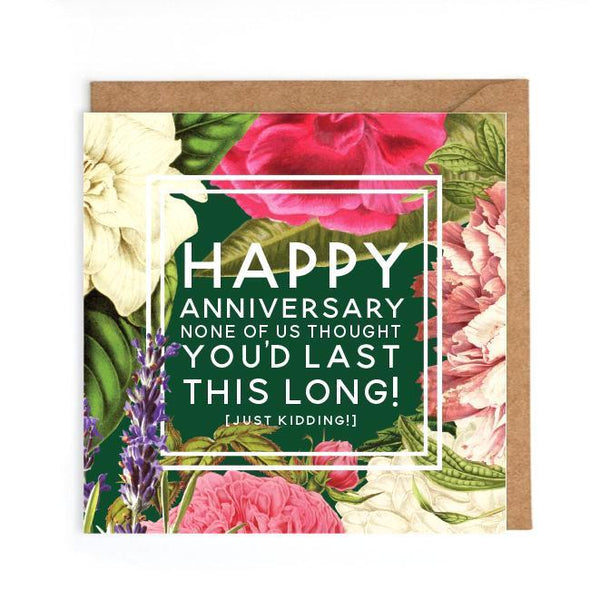 Witty anniversary card to couple