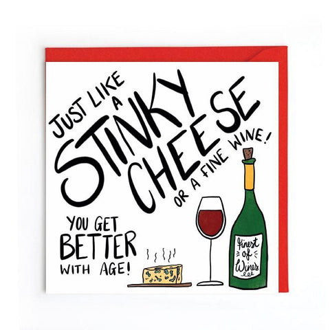 Stinky cheese birthday card