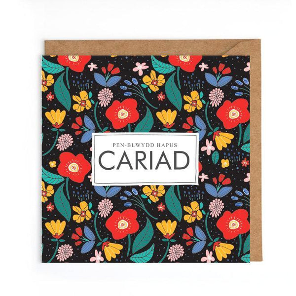 Welsh birthday card cariad