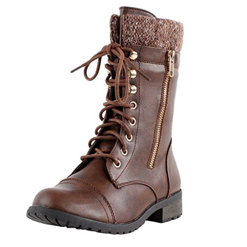 Forever Link Womens Mango-31 Round Toe Military Lace up Knit Ankle Cuff Low  Heel 5af5cd4135