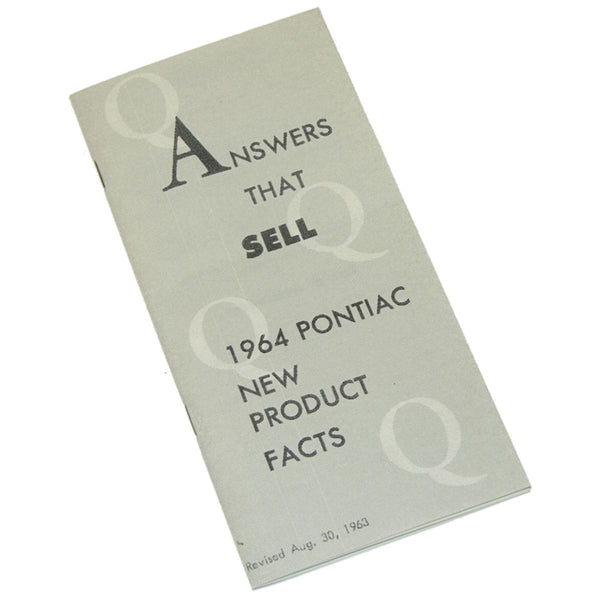 1964 Pontiac (All Models) New Product Facts Book 1pc