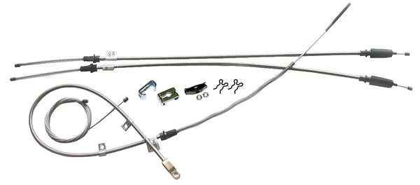 1966-68 Chevrolet GMC C10 Truck Powerglide T-350 & Manual Trans Long Bed Coil Rear Complete Brake Cable Kit Stainless