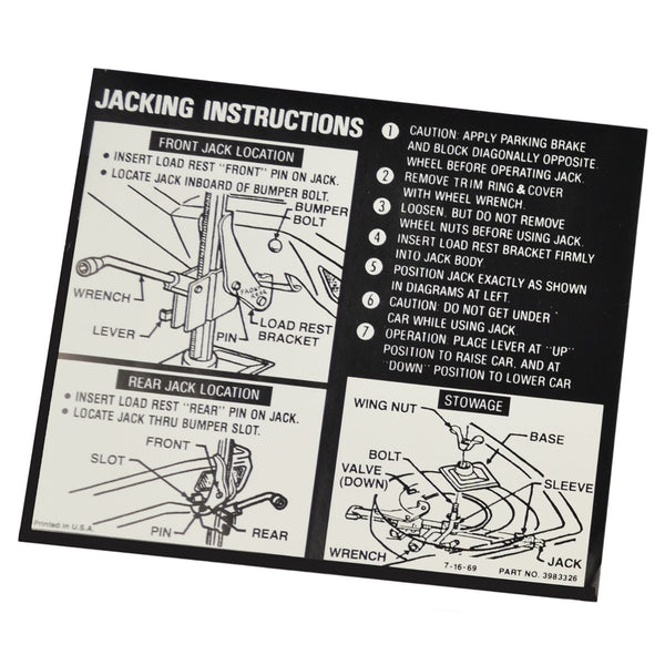 1970 Chevrolet Chevelle (Late) Jacking Instructions.