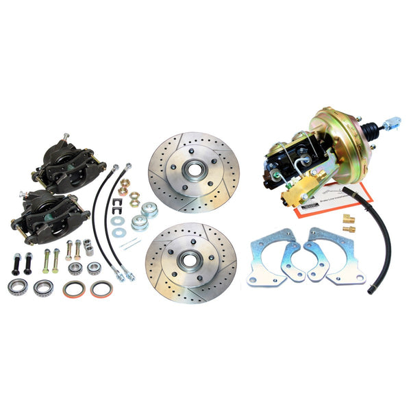 1965-66 Chevrolet (All Car Models) Cross-Drilled & Slotted Rotor Power Disc Brake Conversion Kit