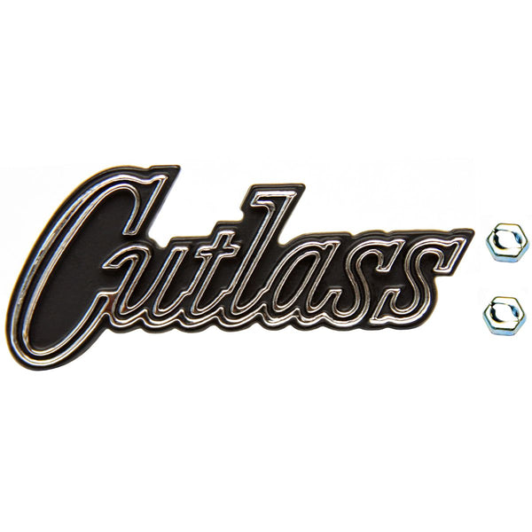 1970-72 Cutlass Glove Box Emblem with two self cutting nuts. 3 pc