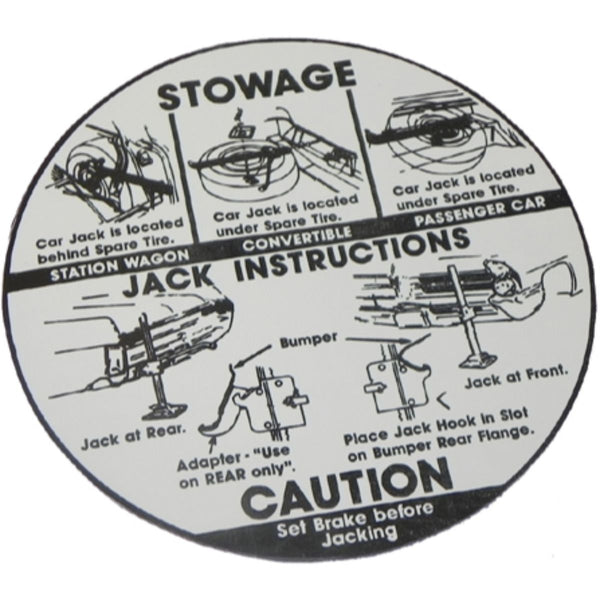 1965 Pontiac Full Size & Grand Prix Jack Instruction Decal