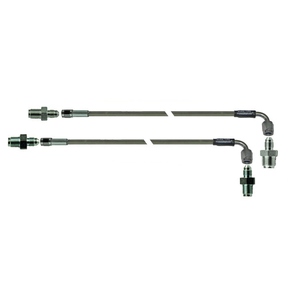 "GM Master Line - 21"" Pair (-3AN Female to -3AN Female 90 Kit Includes: (2) Braided Hoses, (2) Master Fittings, (2) Prop"