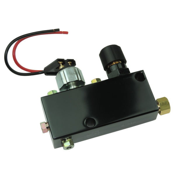 "Adjustable Proportioning Valve - Black Finish, with 3/16"" inverted flare all ports. Comes with brake light switch and l"