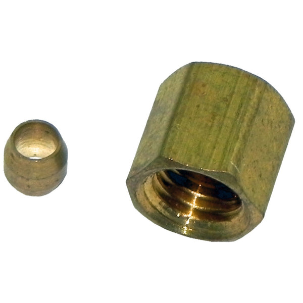 Compression Fitting 1/8 Female With Sleeve, Brass