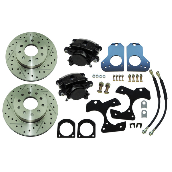 1978-87 GM G-body 1982-93 Camaro, Firebird,  Rear Disc Brake Conversion Kit with Cross Drilled & Slotted Rotors No Park