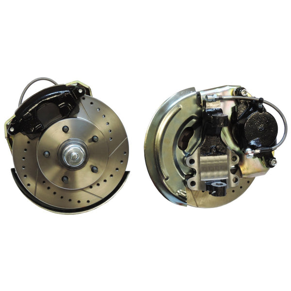 "1968-72 A Body Disc Brake Conversion LOWER KIT with Drilled and Slotted Rotors and 2"" Drop Spindles"