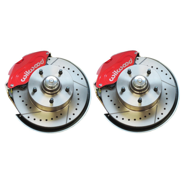 1964-74 GM Lower Brake Kit With Red Wilwood Dual-Piston Calipers