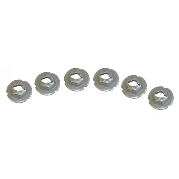 1960-79 GM Fender Emblem Speed Nuts Silver With Grabbers 6pc