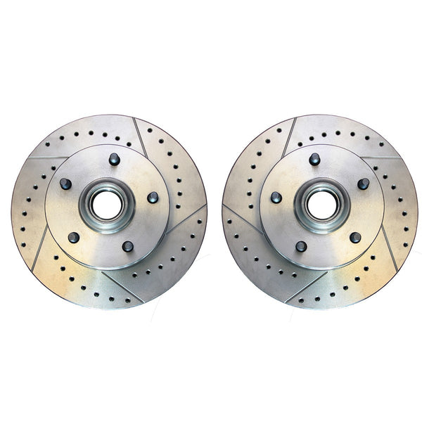1964-72 GM A-Body 1967-69 GM F-Body 1968-74 GM X-Body Drilled and Slotted Disc Brake Front Rotors 2pc