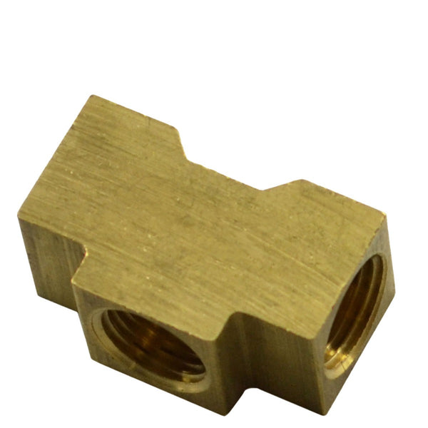 "Brass Tee 7/16""-24 Female Inv Flare All Sides for 1/4"" Tube"