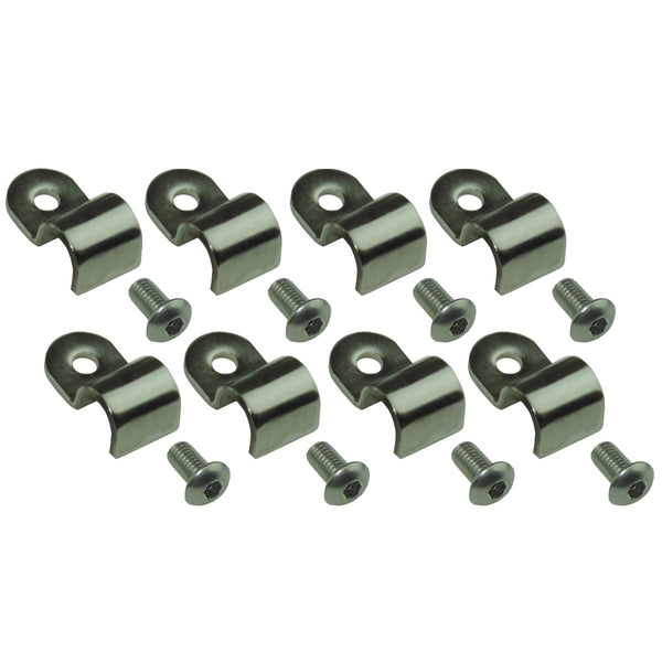 "3/8"" Tube Brake and Fuel Line Stainless Clamp/Street Rod Clip (.600 Wide/.200 Hole) and Screw Kit 16pc"