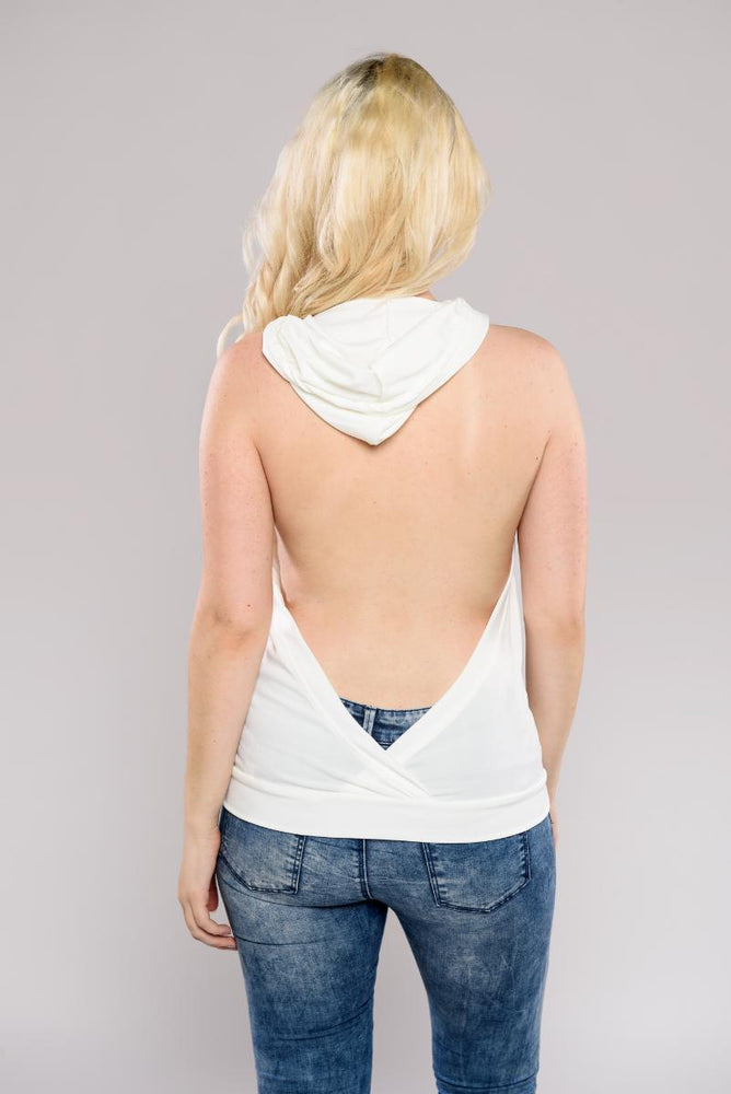 Backless hooded top