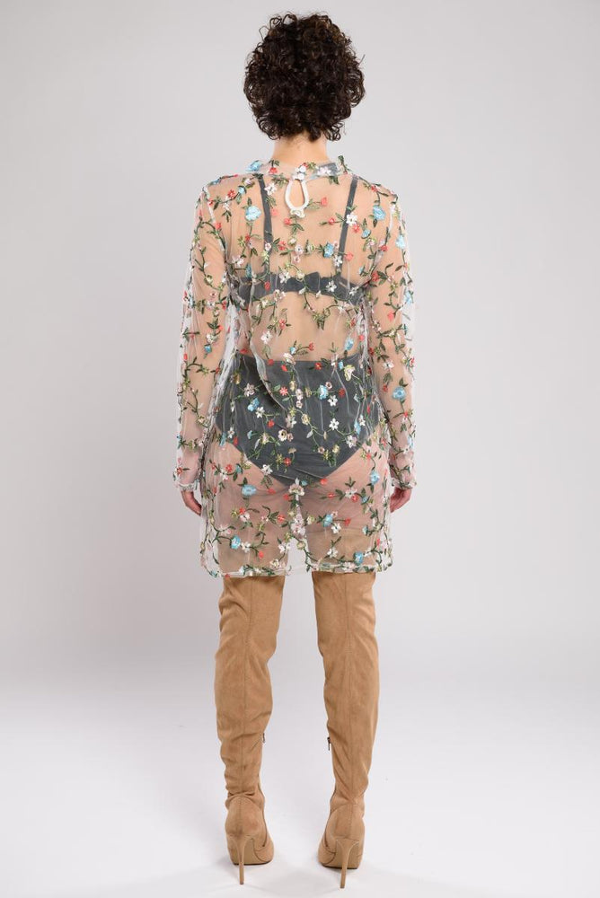 Cecilia See-Through Floral Embroider Top