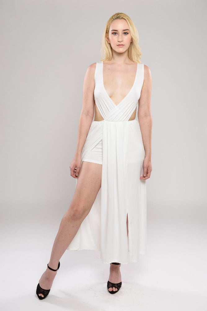 Tamira white slit dress