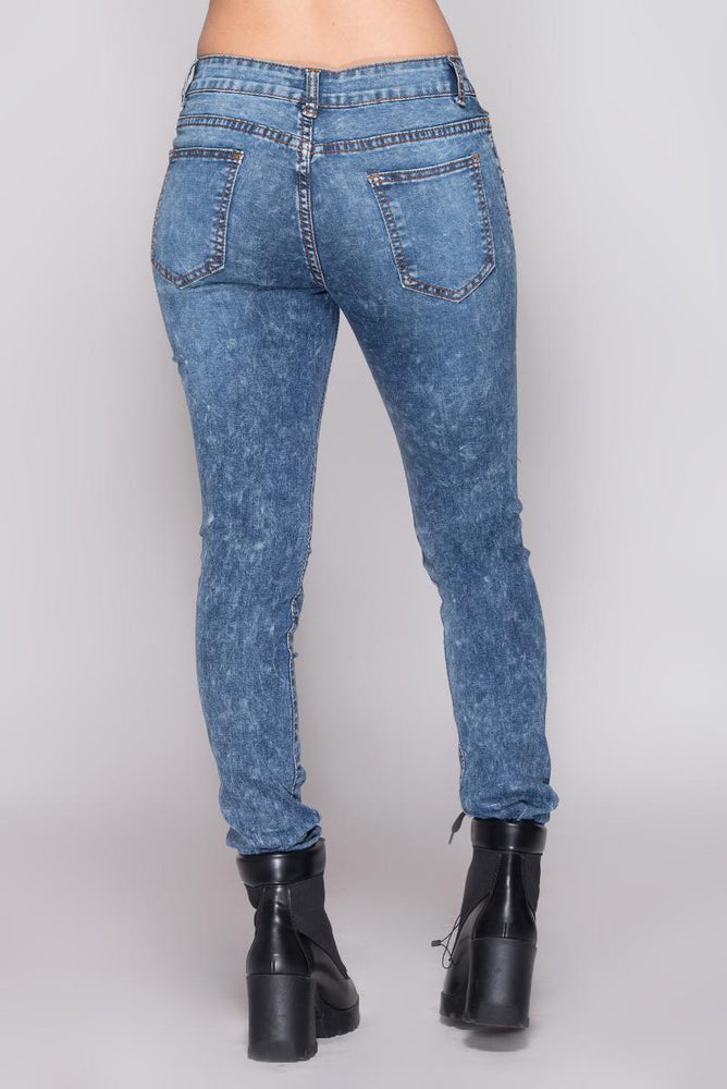 Distressed Floral Jeans