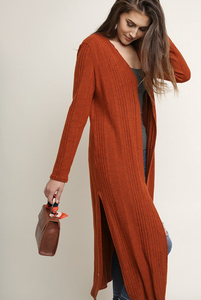 Rust Long Sleeve Cardigan
