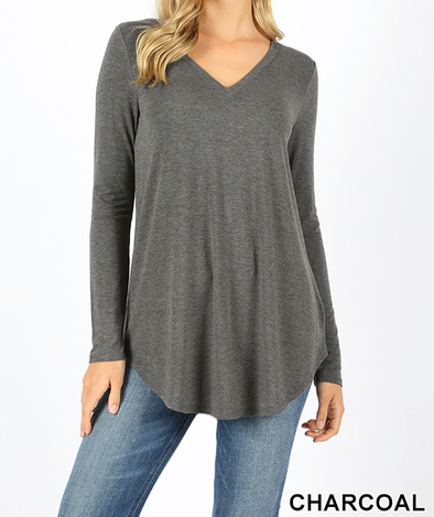 Plus Perfect Long Sleeve V-Neck Tee