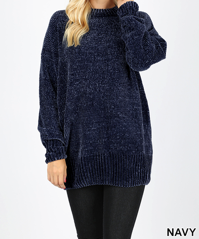Over Sized Round Neck Chenille Sweater