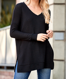 Plus Sized Brushed Thermal Waffle V-Neck Sweater