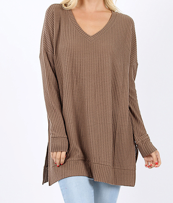Brushed Thermal Waffle V-Neck Sweater
