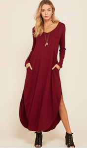 Burgundy Hooded Maxi