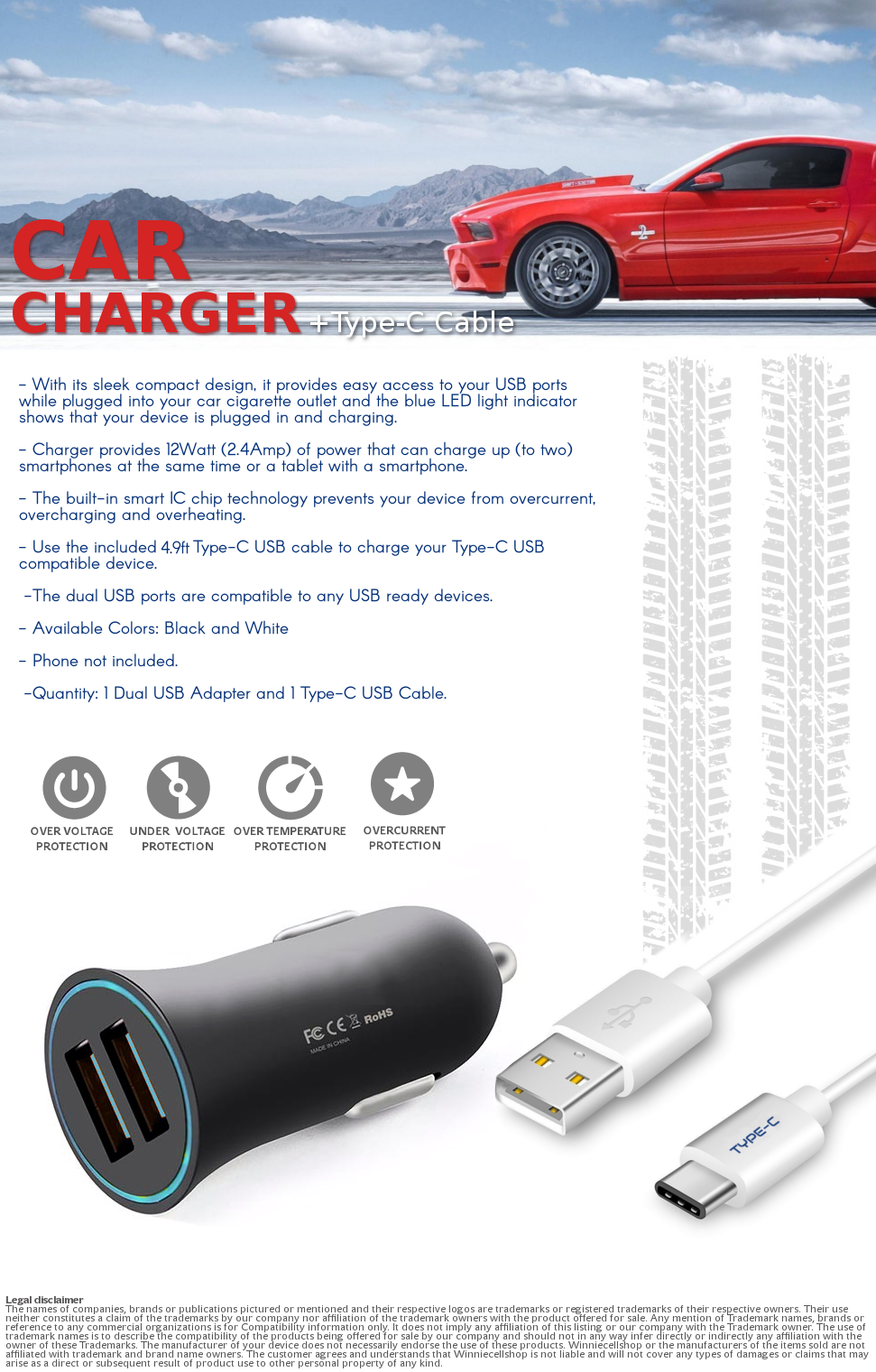 Rapid Charge 2 Port Usb Plug In Car Adapter Type C Charger Cable Fastchargerwithcutoffcircuitpng Categories
