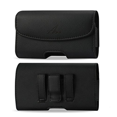 For LG V35 ThinQ Premium Leather Pouch Case Holster With Belt Clip & Loops - AGOZTECH
