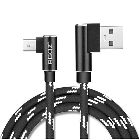 90 Degree L-Shape 4,6,10ft Micro USB Fast Charger Cable