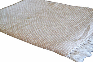 Cotton Throw Blanket Beige Brown Cream Soft 100% - DesignsEmporium