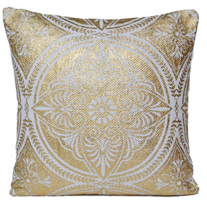 Decorative Gold Cushion Covers Mandala White Cotton 50x50cm - DesignsEmporium