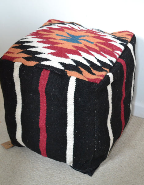 "Bean bag Cover Wool Kilim Pouffe 40cm 16"" Cube Turkish Ottoman - DesignsEmporium"