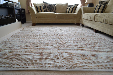 Natural Jute Rug White Chindi Cotton Stripes Knotted Dhurrie