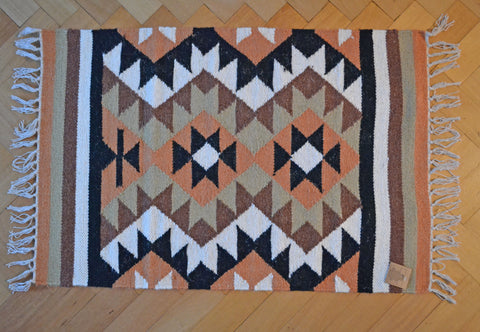 Small Kilim Handmade Rug Wool 60x90cm 2x3 Orange Green Black Brown - DesignsEmporium
