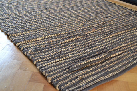 Braided Natural Jute Rug Choco Chindi Cotton Stripe Handmade 180x120cm